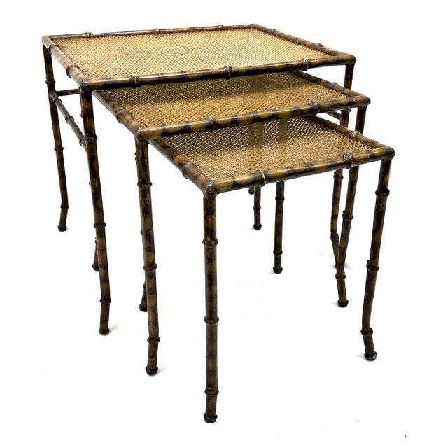 20th Century Chinoiserie Faux Painted Steel Bamboo Nesting Tables - Set of 3 For Sale - Image 12 of 12