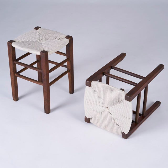 Mid-Century Modern Vintage Mid Century Hand Woven Stools- A Pair For Sale - Image 3 of 7
