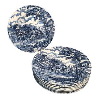 1950s Myott Royal Mail Blue & White Staffordshire England Transferware Dinner Plates - Set of 8 For Sale