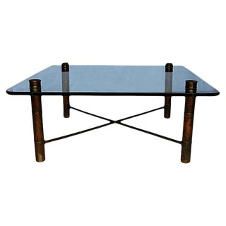"""Hollywood Regency Brass """"Bamboo"""" Cocktail Table For Sale"""