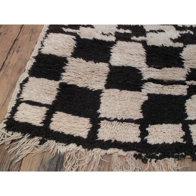 "Primitive ""Chessboard Boogie Woogie,"" Moroccan Berber Carpet For Sale - Image 3 of 8"