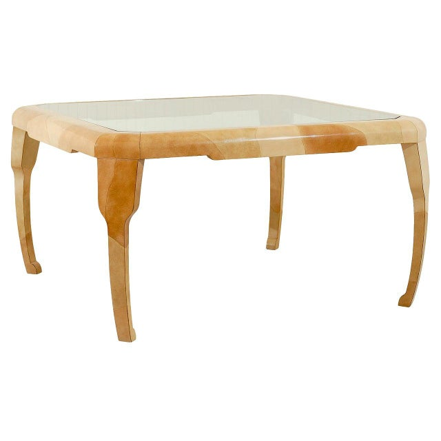 Rare Lacquered Faux Goatskin Dining or Game Table by Alessandro for Baker For Sale - Image 10 of 10