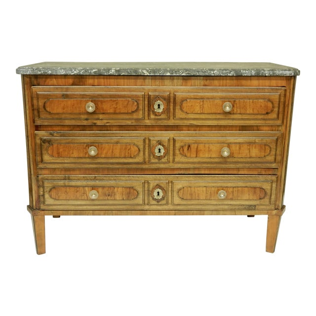 Early Italian Genoese Walnut and Olivewood 19th c.commode For Sale