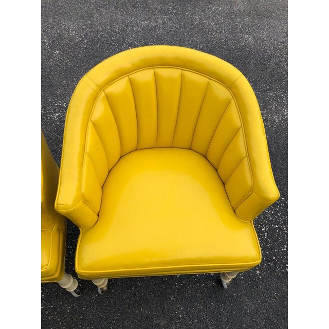 Yellow 1970s Vintage Yellow Channel Back Vinyl Chairs- A Pair For Sale - Image 8 of 13