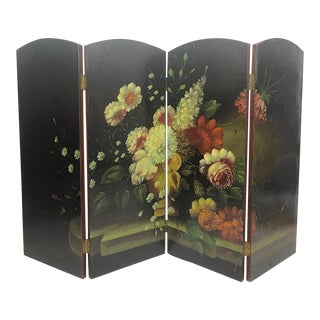 Victorian Style Painted Decorative Firescreen For Sale