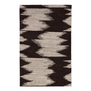 Jaipur Living Ozark Hand-Knotted Geometric Dark Brown/ Ivory Area Rug - 2′ × 3′ For Sale