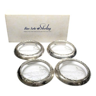 Vintage Sterling Silver and Glass Coasters by Fine Arts Sterling For Sale