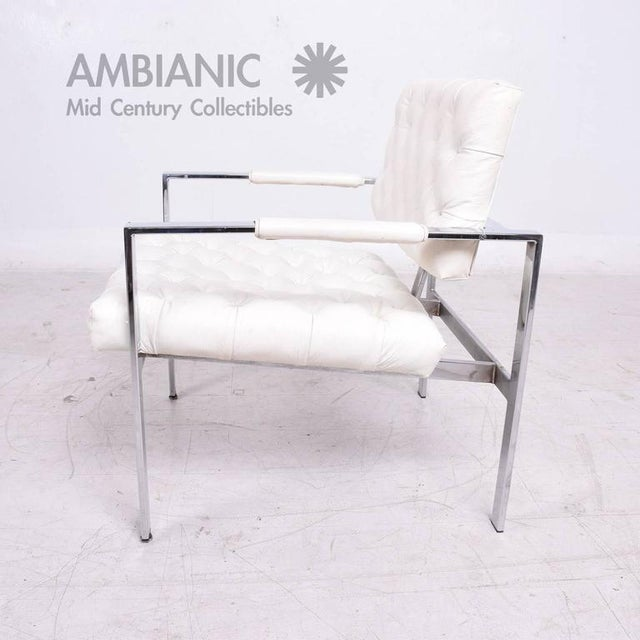White Milo Baughman for Thayer Coggin Tufted Armchair For Sale - Image 8 of 10