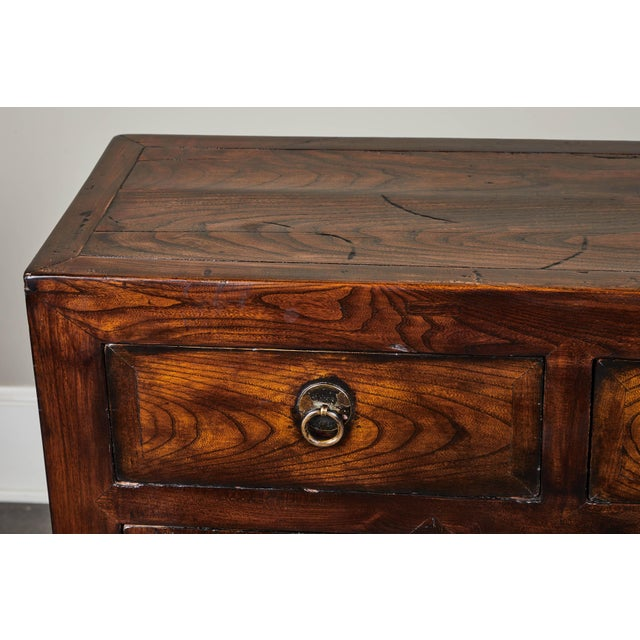Brown 19th C. Chinese Three Drawer Elm Sideboard For Sale - Image 8 of 9
