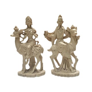 Mid Century Chinoiserie God & Goddess on Deer Statue Set - a Pair For Sale