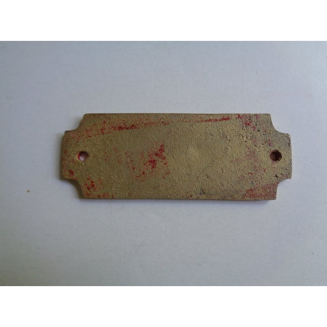 Vintage mid-century sign or plaque - Bedrooms. Reclaimed from a closed hotel. Made of brass metal with red painted...