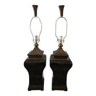 Chinoiserie Black Pagoda Lamps-Pair For Sale