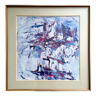 "Joan Mitchell Rare Vintage 1967 Abstract Expressionist Framed Collector's Lithograph Print "" George Went Swimming "" 1957 For Sale"