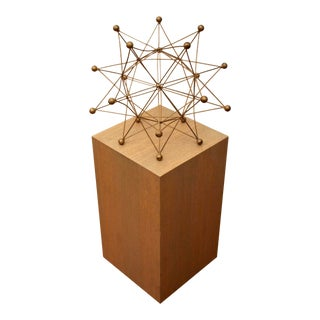 Geometric Sculpture on Wood Pedestal Display Stand For Sale