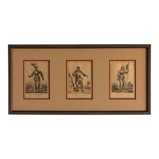 Three Hand Coloured Engravings, France c.1800, Custom Frame For Sale