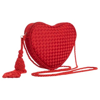 Vintage Bottega Veneta Red Silk Heart Crossbody Bag For Sale