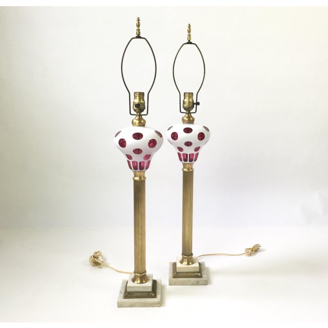 Italian Art Glass Brass Column Lamps - a Pair For Sale - Image 9 of 9
