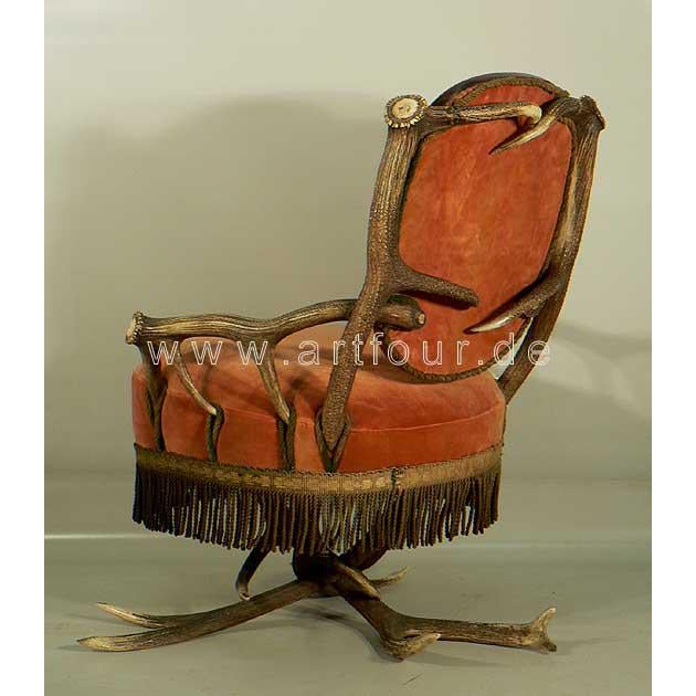 Lodge Antler Easy Chair Austria Ca. 1880 For Sale - Image 3 of 6