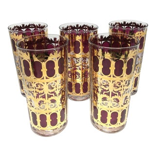 "Vintage Culver ""Cranberry Scroll"" Highball Glasses - Set of 5 For Sale"