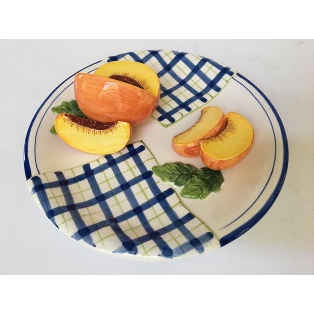 Farmhouse Trompe l'Oeil Decorative Blue Plaid Peach Plate For Sale - Image 3 of 10