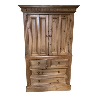 2000s Country Pj Milligan & Company Pine Armoire For Sale