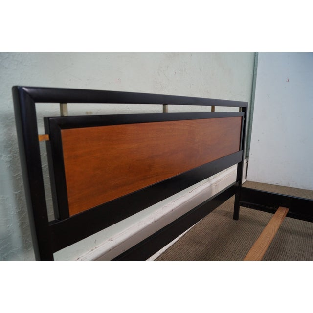 Tung Si Collection Ebonized Black & Teak Full Bed - Image 6 of 10
