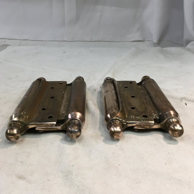 Antique 1905 Brass-Plated Swinging Door Hinges - a Pair For Sale - Image 9 of 10