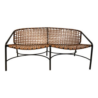 Vintage Mid-Century Modern Brown Jordan Kantan Outdoor Settee For Sale