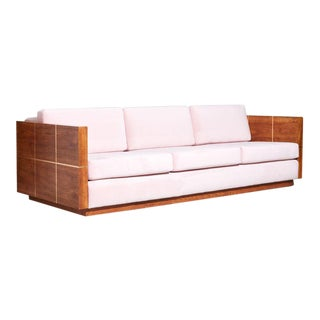 Vintage 1970s Wood Cased Sofa For Sale