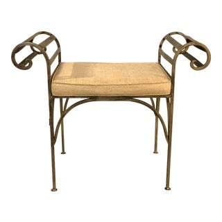 Hollywood Regency Wrought Iron Vanity Bench For Sale