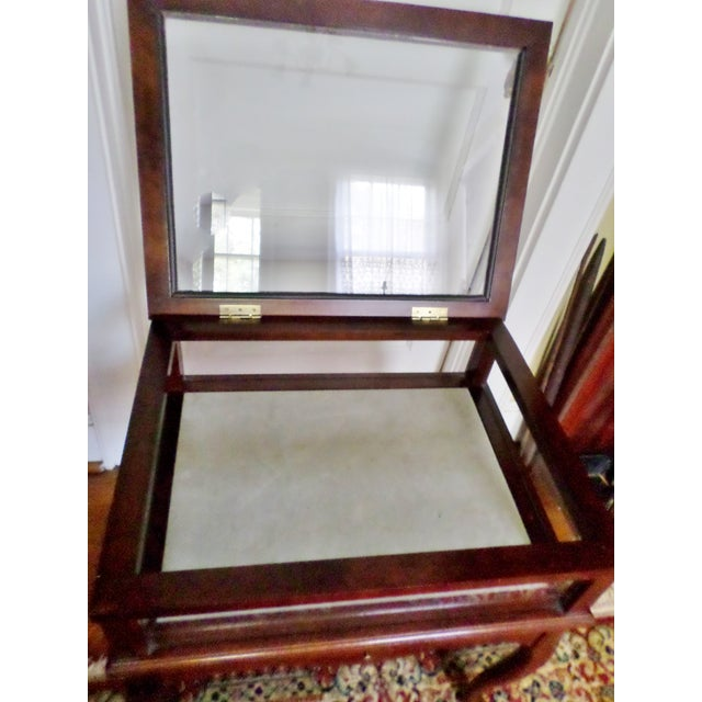 1980s Vintage Bombay Company Cherry Stained Glass Curio Display Case For Sale - Image 5 of 13