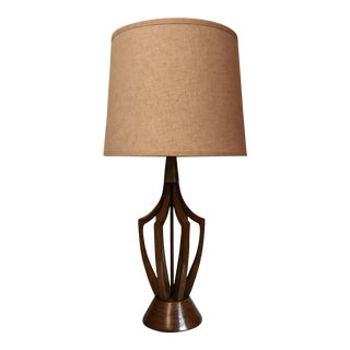 Mid-Century Hand Carved Walnut Lamp For Sale
