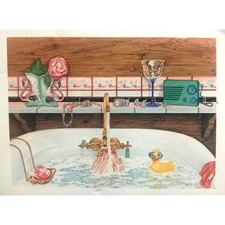 "Vintage Lithograph John Ramos ""Her Bath"" Lithograph For Sale"