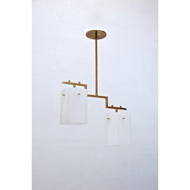 Brass Mid-Century Cube Pendant For Sale - Image 7 of 8
