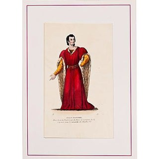 19th-Century French Red Costume Lithograph