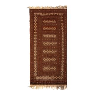 Hand-Woven Vintage Kilim Brown Beige and Red Traditional Flat Weave For Sale