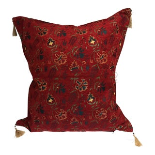 Boho Chic Kilim Motif Red Pillow Cover For Sale