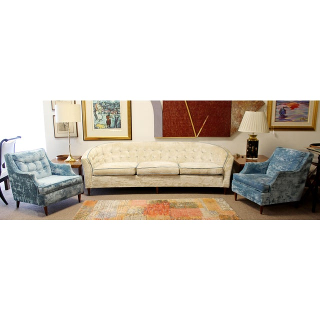 Mid Century Modern Kroehler Suite Crushed Velvet Sofa Chairs Set 1950s - Set of 3 For Sale - Image 10 of 10