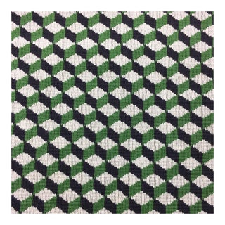 Schumacher Black & Green Geometric Fabric - 2 and 1/3 Yards For Sale