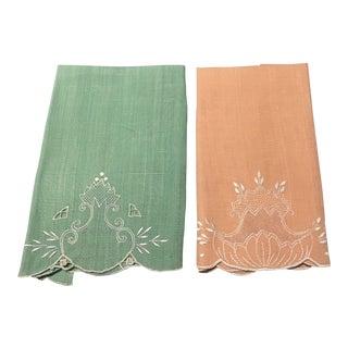Fine Linen Fingertip Towels - a Pair For Sale