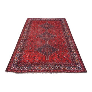"""Antique Persian Hand Knotted Qashqai Rug - 6'11"""" x 9'8"""""""