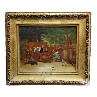 J. Vernet -19th Century Painting-French Soldier Playing Chess W/Woman For Sale
