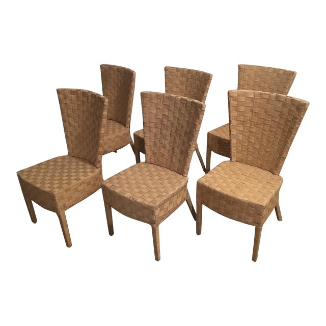 High-Back Wicker Side Chairs - Set of 6 - Image 1 of 5