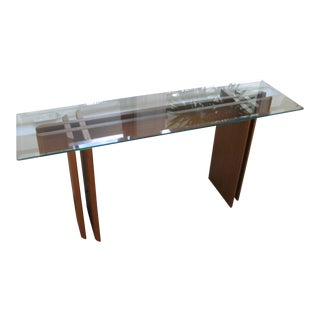 Mid-Century Modern Danish Teak Console & Glass Top For Sale