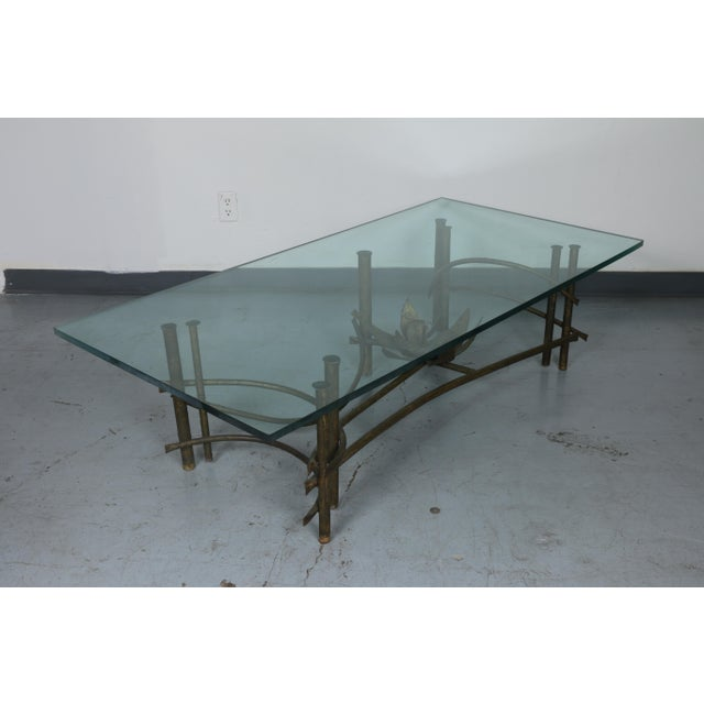 Vintage condition Lotus style base coffee table. Glass is in excellent condition. Base has no missing parts or damages.