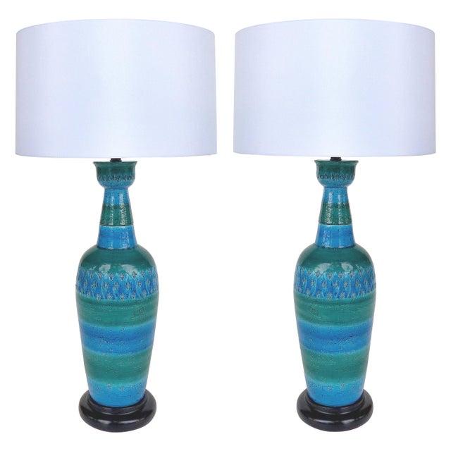 """1960s Bitossi Ceramiche Aldo Londi """"Rimini Blu"""" Ceramic Table Lamps, Italy For Sale - Image 11 of 11"""