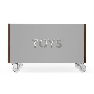 Toy Box Chest on Casters in Walnut With Gray Finish Preview