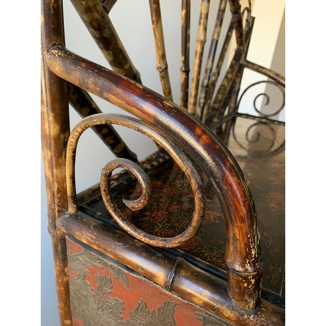 Late 19th Century Antique Burnt Bamboo Etagere With Glass Front For Sale - Image 5 of 10