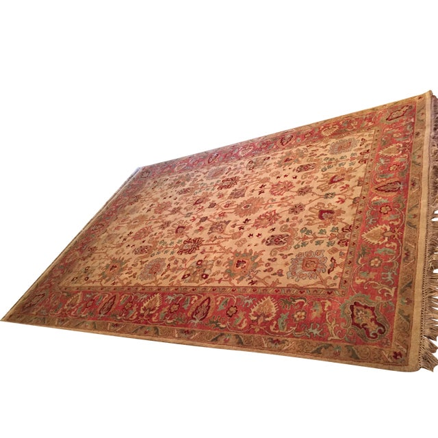 Designer Wool Rug Cream & Red - 8' x 11' - Image 1 of 10