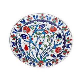 Traditional Turkish Iznik Navy Blue Pottery Platter